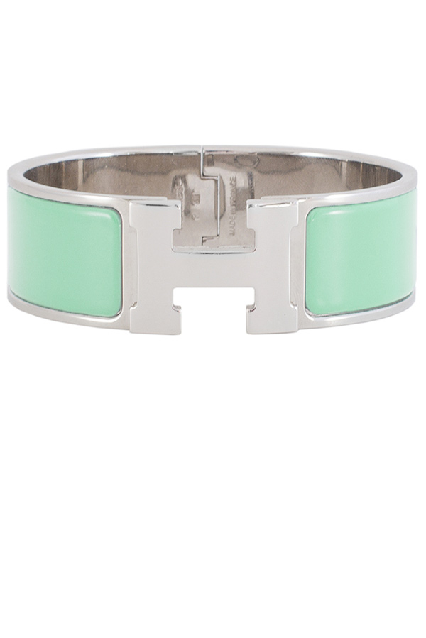 Hermes - Wide Clic H Bracelet  Lagoon Blue Palladium Plated    PM View 1