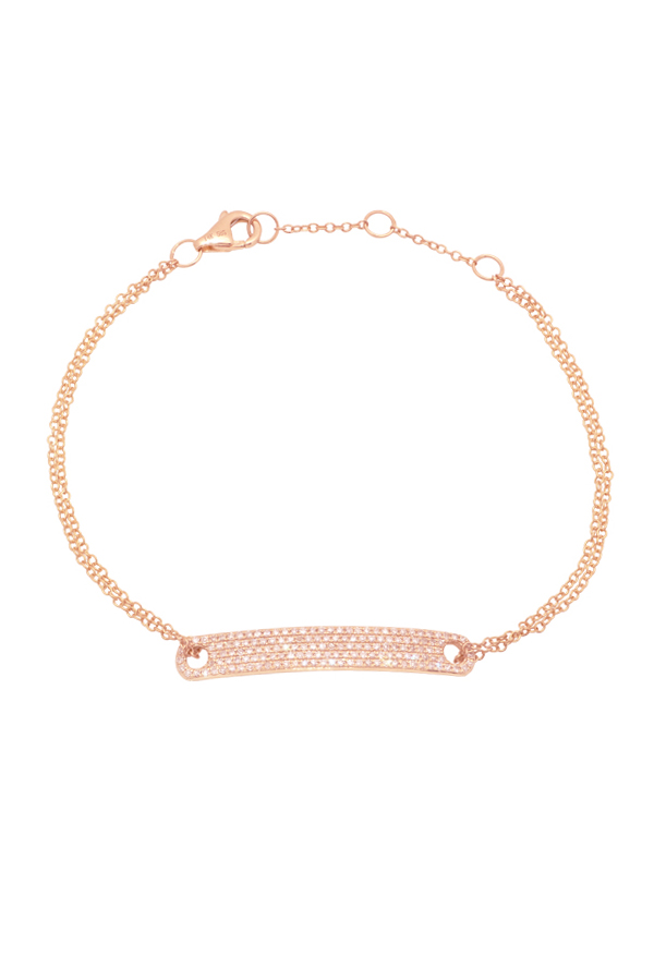 Yu  - Diamond Tag Chain Bracelet (14k Rose Gold)