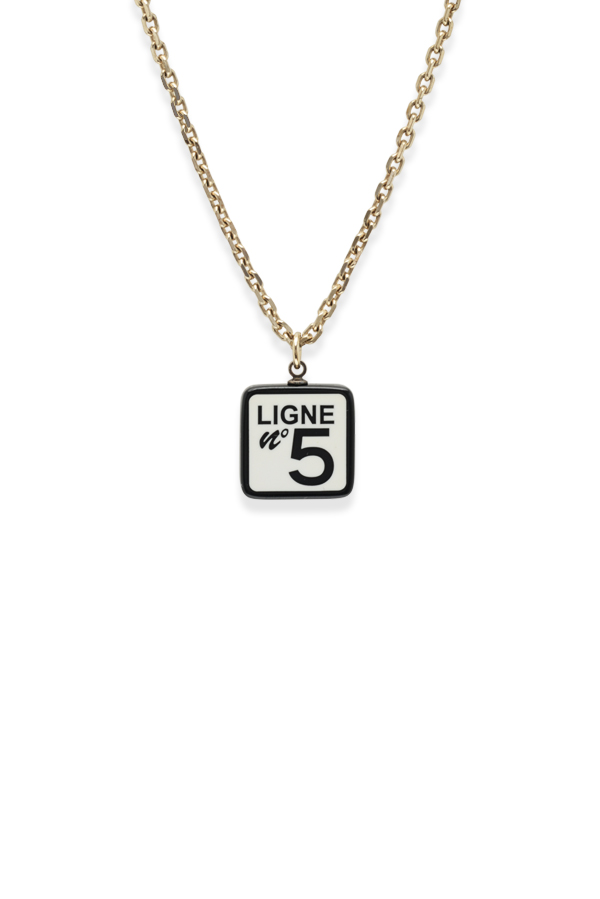 Chanel - Vintage Square Resin Ligne No 5 Charm Pendant Necklace