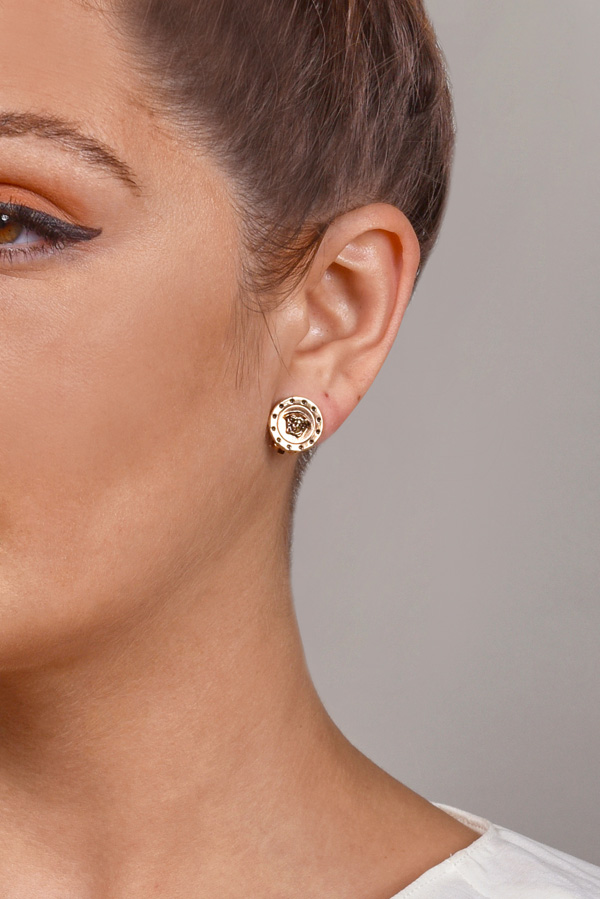 Versace - Rose Gold Medusa Dotted Earrings View 2