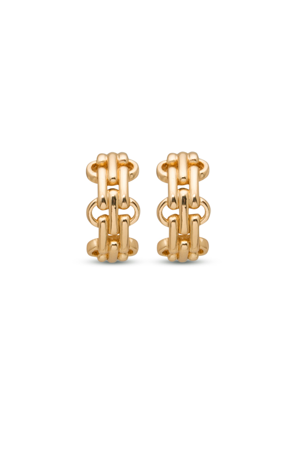 Christian Dior - Gold-tone Chain Link Huggie Earrings View 1