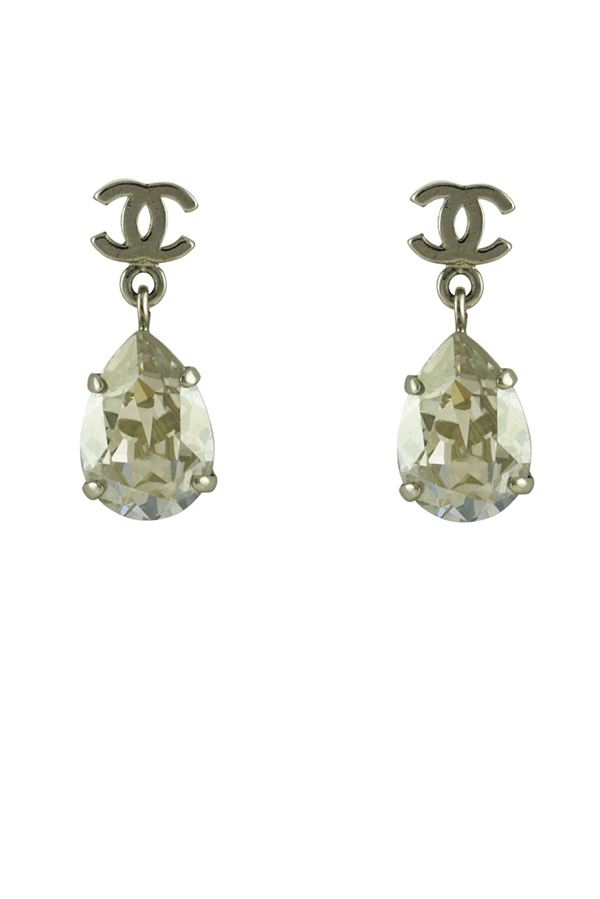 Chanel - CC Logo Crystal Drop Clip On Earrings View 1