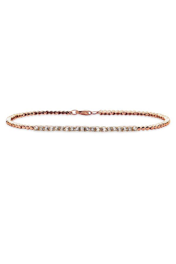 Do Not Disturb - The Toulouse Tennis Bracelet (14k Rose Gold and White Topaz) - Medium