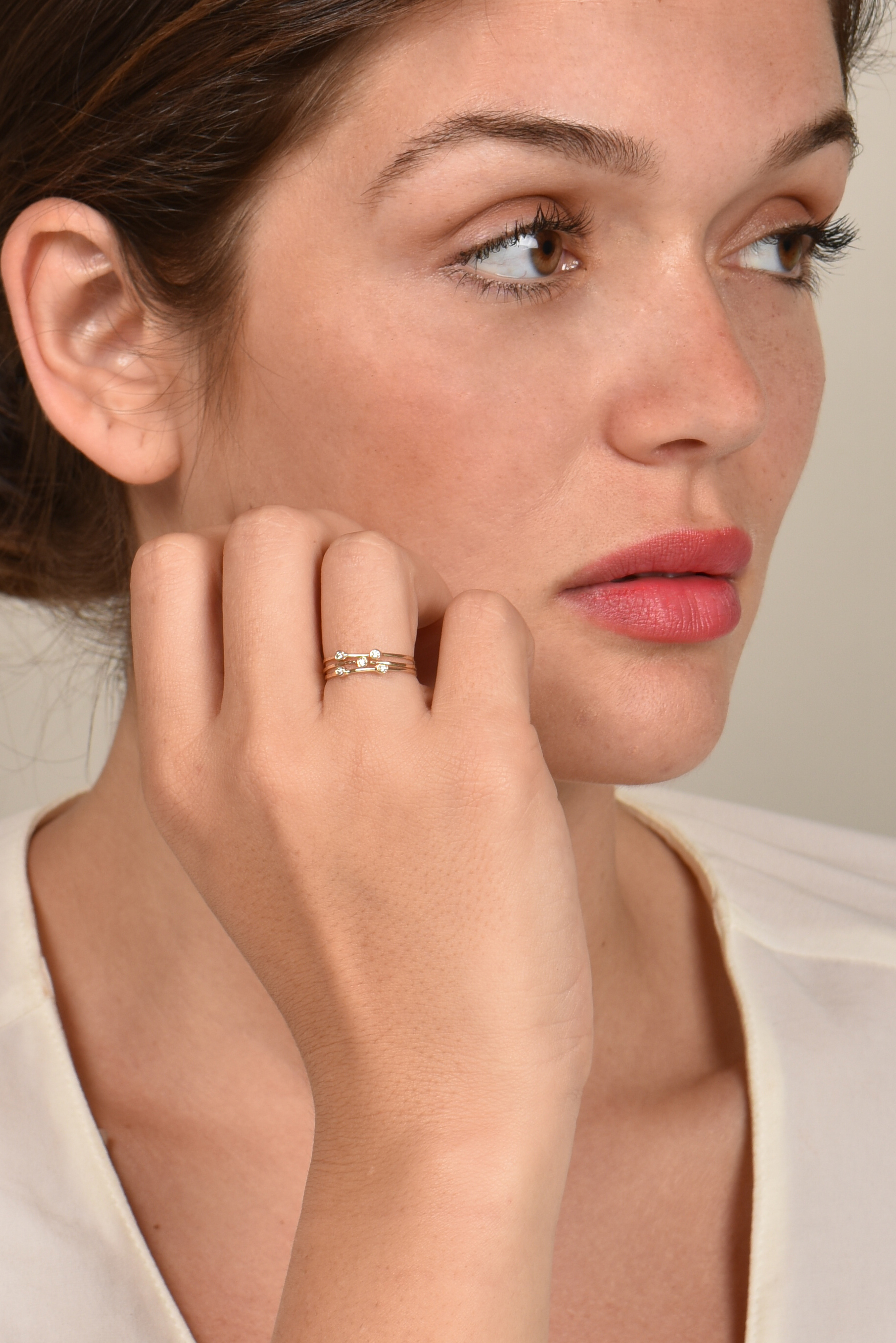 Sophie Ratner - Diamond Ring Set - Size 7