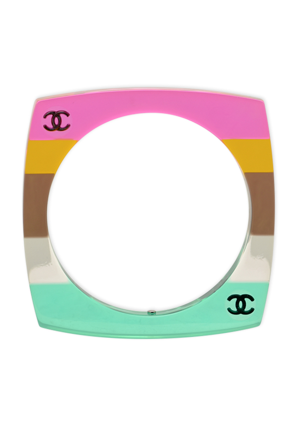 Chanel - Multicolor Rainbow Striped Square Bangle View 1
