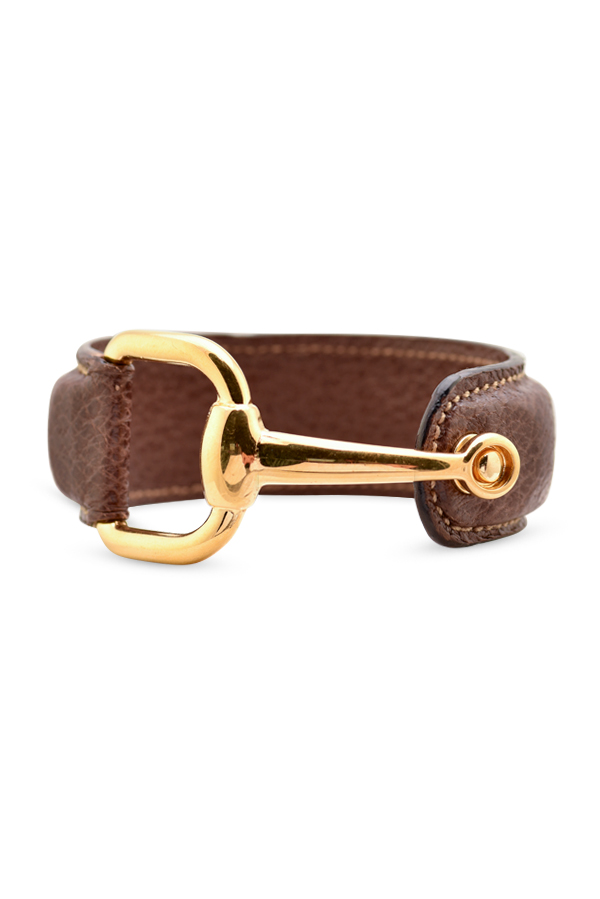 Gucci - Leather Bangle with Gold Tone Hardware