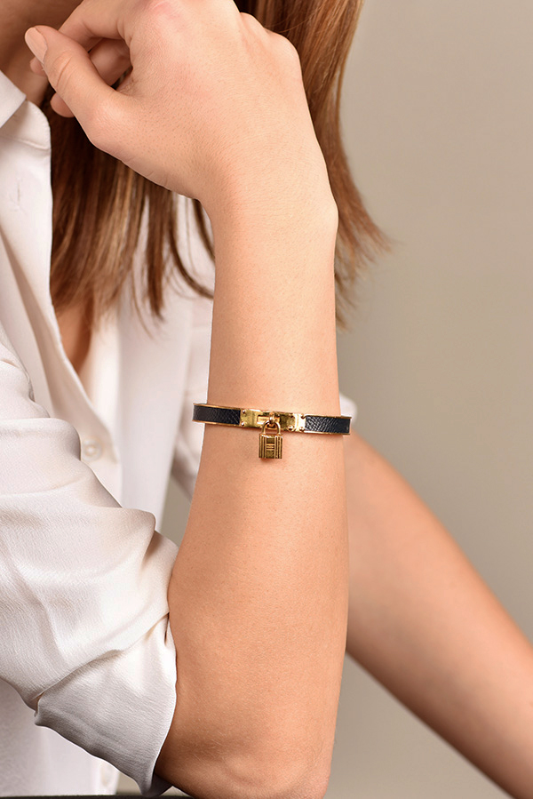 Hermes - Kelly Cadena Lock Bangle  Black And Gold  View 2