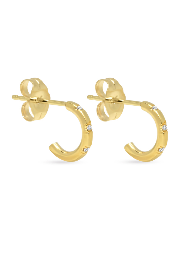 Switch - Simple Diamond Huggie Earrings (18k Yellow Gold)