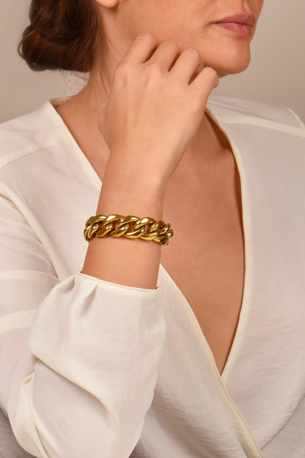 Celine - Gold Curb Chain Bracelet  View 2