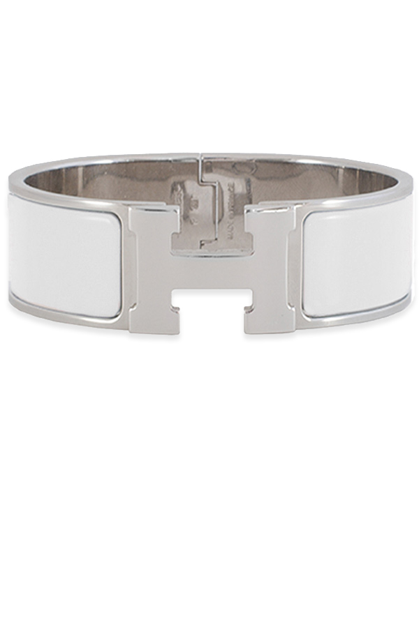Hermes - Wide Clic H Bracelet (White/Palladium Plated) - PM