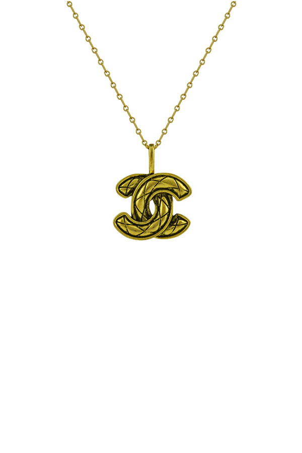 Chanel - Vintage Textured CC Logo Pendant Necklace (Gold and Black)