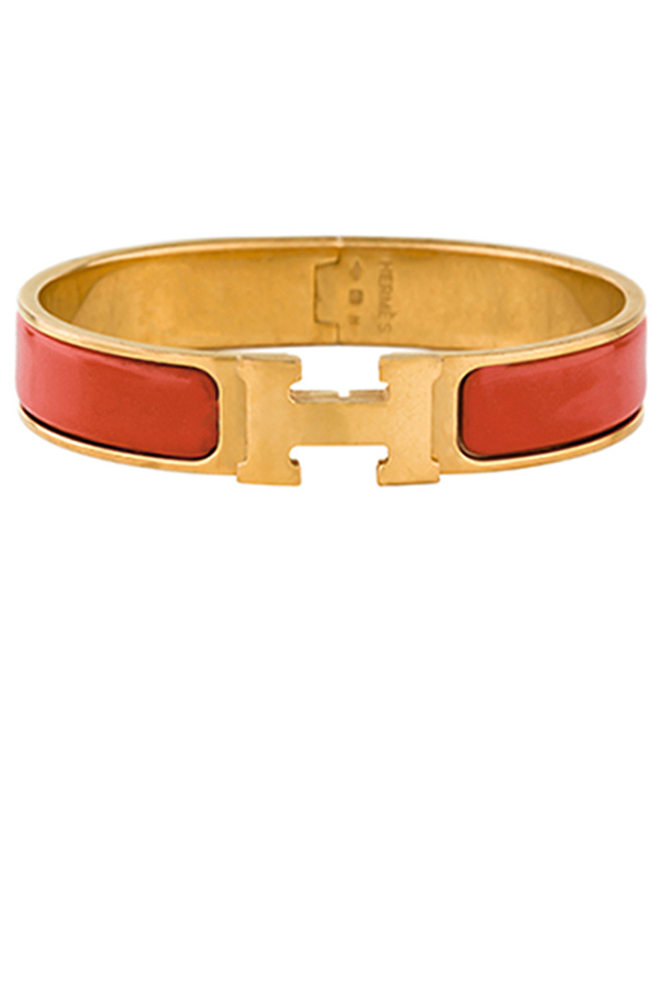 Hermes - Narrow Clic H Bracelet (Chestnut Red/Yellow Gold Plated) - GM