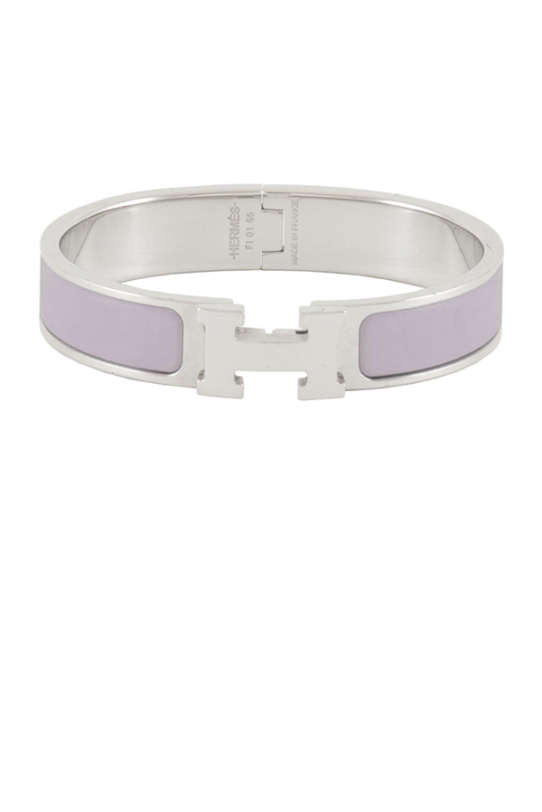 Hermes - Narrow Clic H Bracelet (Light Purple/Palladium Plated) - PM