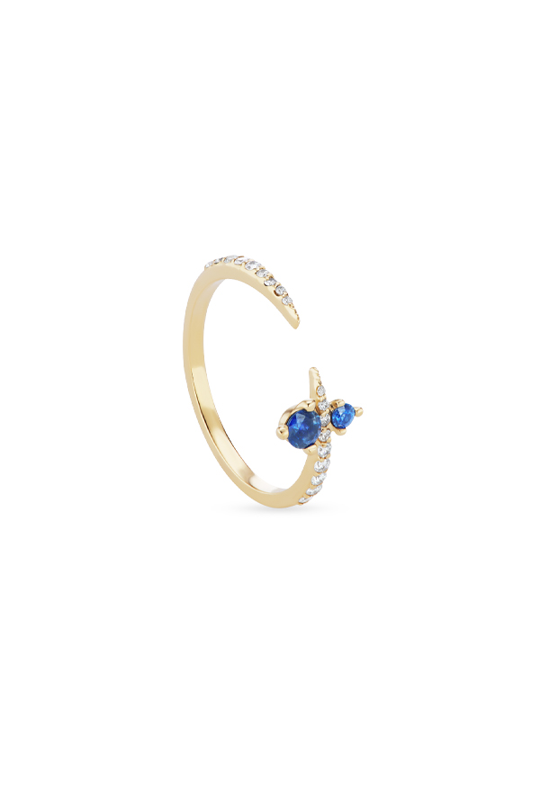 Sophie Ratner - Pave Apex Ring with Sapphire - Size 6.5