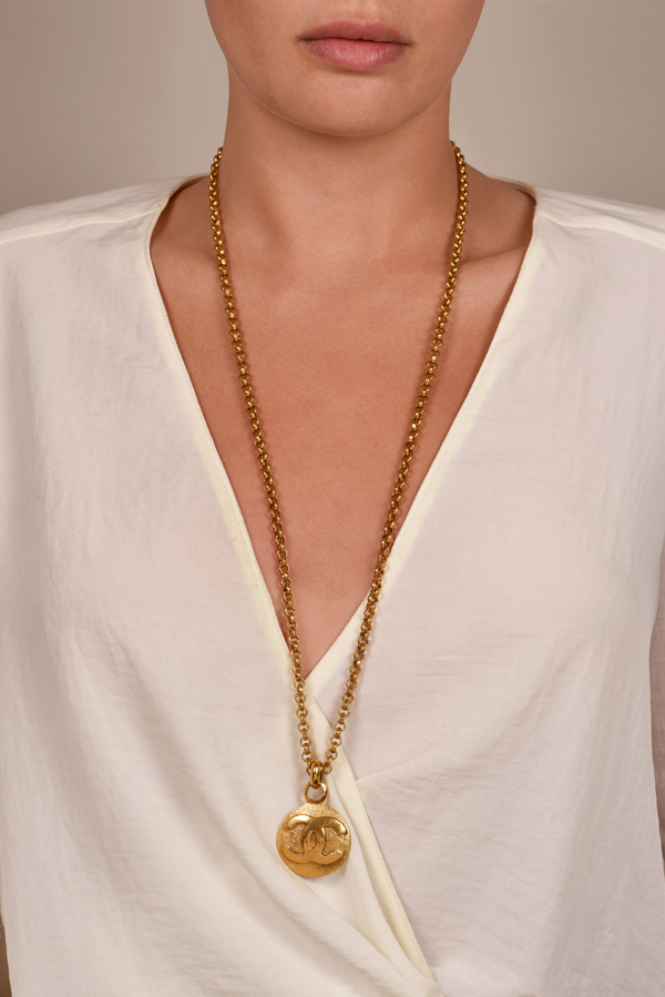 Chanel - Vintage Long Chain With Coin CC Logo Pendant