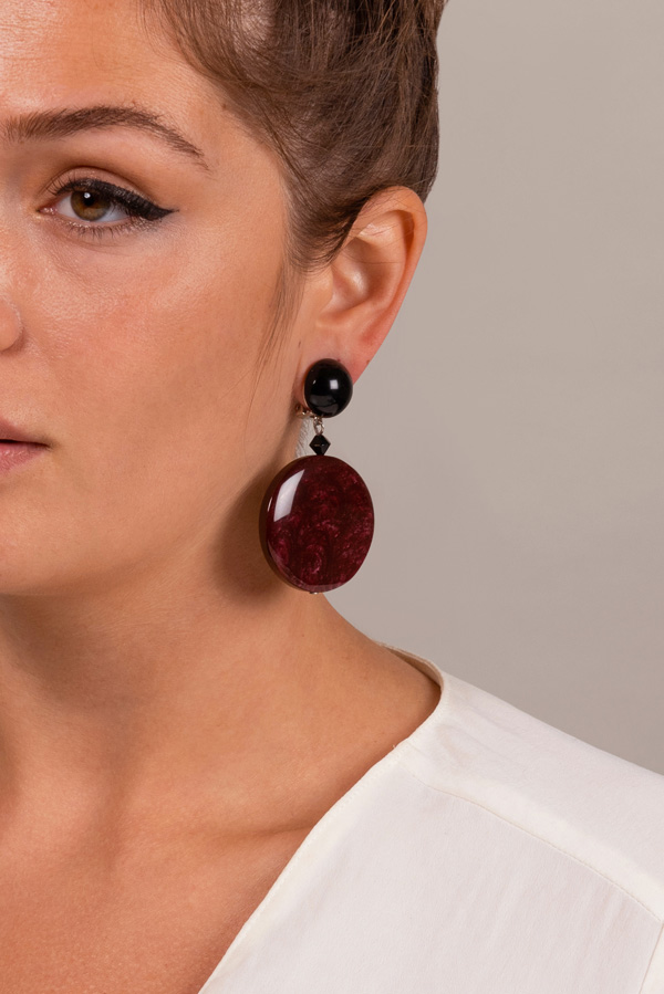 Angela Caputi - Burgundy Marble Drop Earrings  View 2