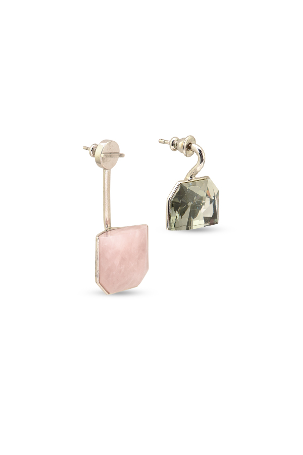 Christian Dior - Set Earrings (Rose Quartz and Black Crystal)