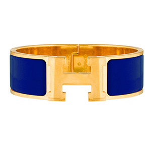 Hermes - Wide Clic H Bracelet (Electric Blue/Yellow Gold Plated) - GM