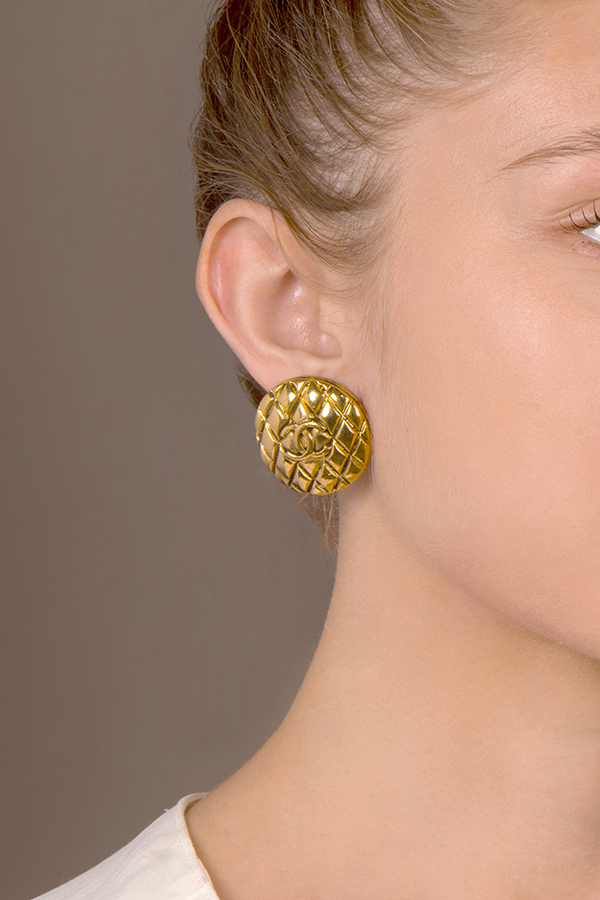 Chanel - Large Quilted Medallion Clip On Earrings