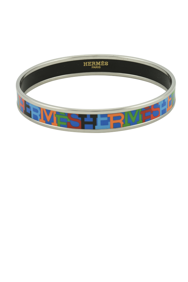 Hermes - Narrow Blue Enamel Bangle (Capitales)