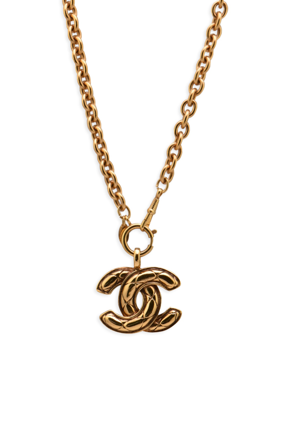 Chanel - Large Vintage Textured CC Logo Pendant Necklace on Short Chain View 1