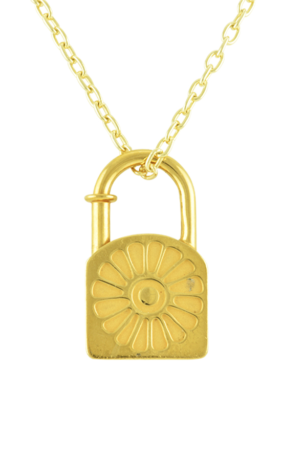 Hermes - Cadena Flower Lock Charm Pendant Necklace (Gold)