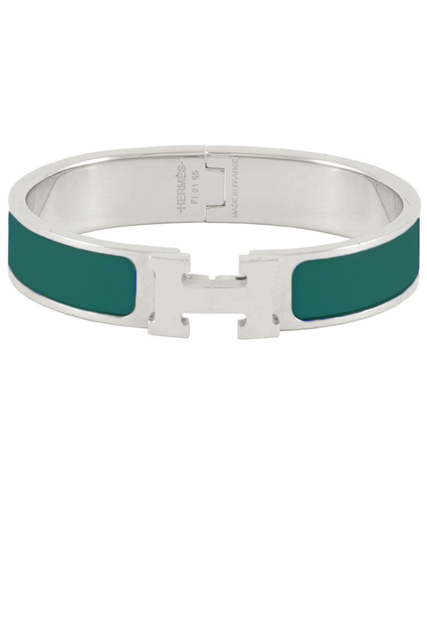 Hermes - Narrow Clic H Bracelet (Dark Sea Green/Palladium Plated) - PM