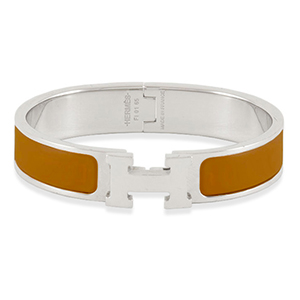 Hermes - Narrow Clic H Bracelet  Clay Brown Palladium Plated    GM View 1