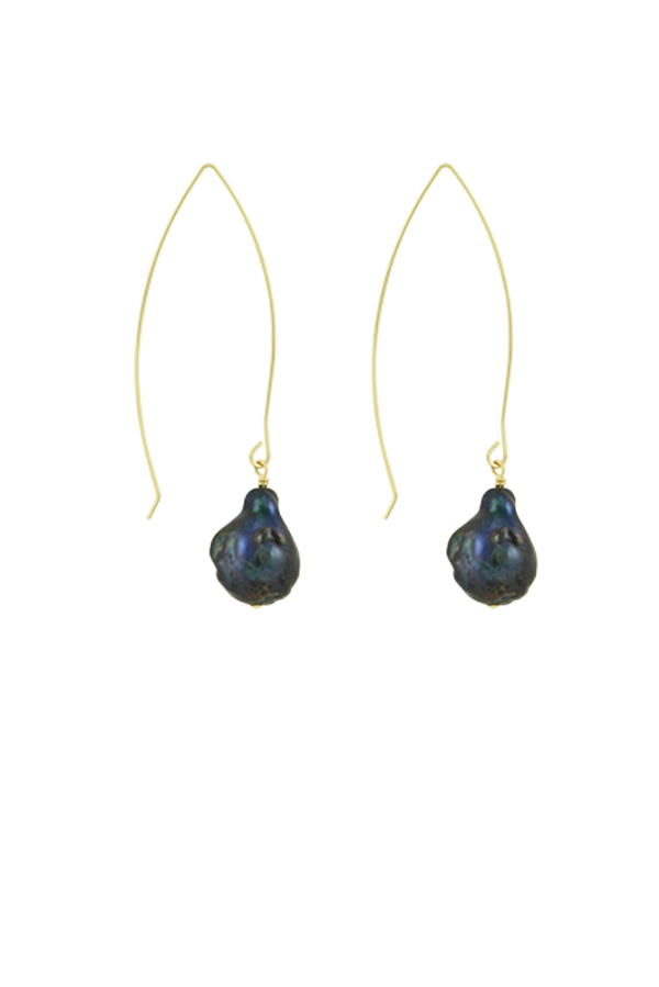 Chains and Pearls - Black Baroque Pearl Earrings with Gold Wire