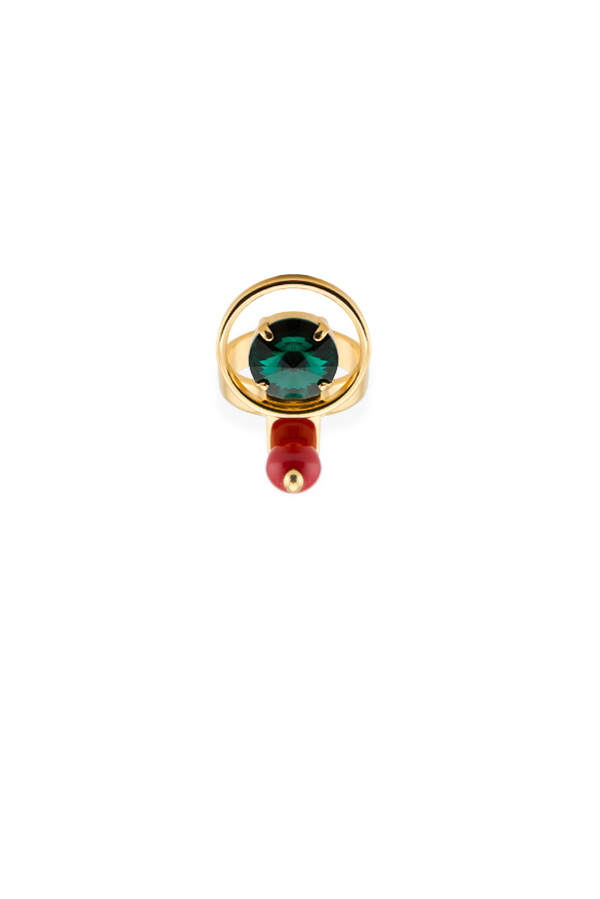 Marni - Multi Orb Stone And Metal Ring - Size 6