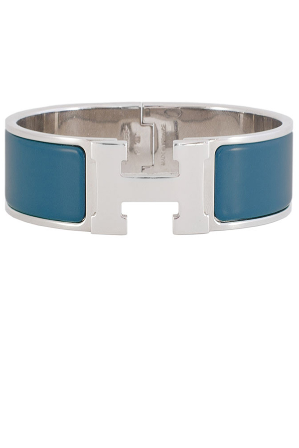 Hermes - Wide Clic H Bracelet (Deep Blue/Palladium Plated) - PM