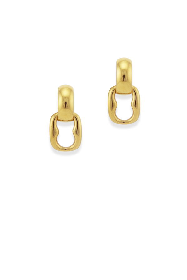 Gucci - Vintage Square Link Dangle Clip On Earrings