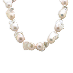 Chains and Pearls - White Baroque Pearl Necklace View 1