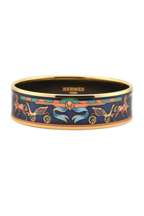 Hermes - Enamel Bangle With Horse And Carriage Print (gold/blue)