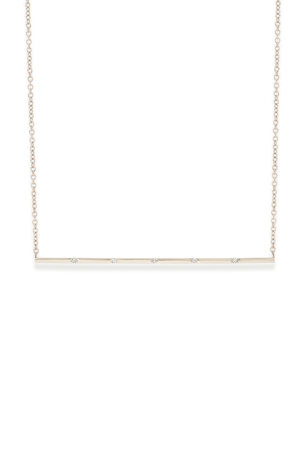 Switch - Simple Diamond Long Bar Pendant Necklace (18k White Gold)