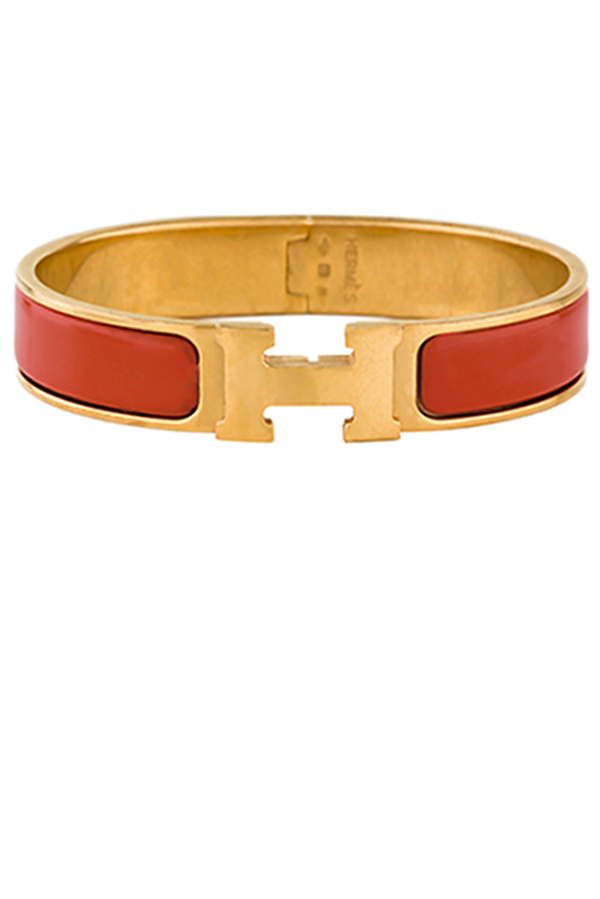 Hermes - Narrow Clic H Bracelet (Red/Yellow Gold Plated)