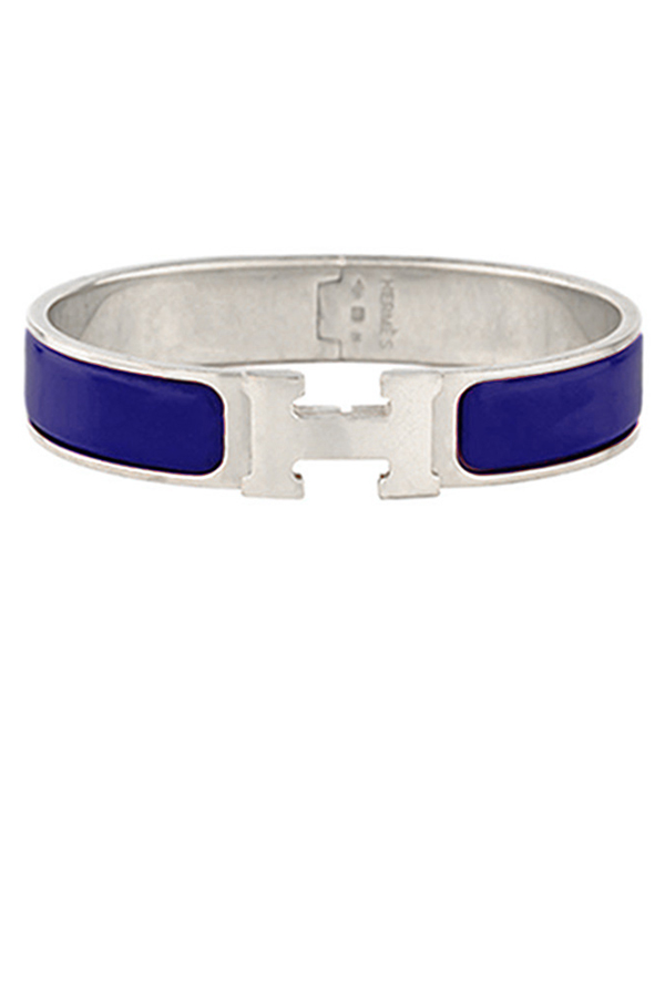 Hermes - Narrow Clic H Bracelet (Royal Blue/Palladium Plated) - PM
