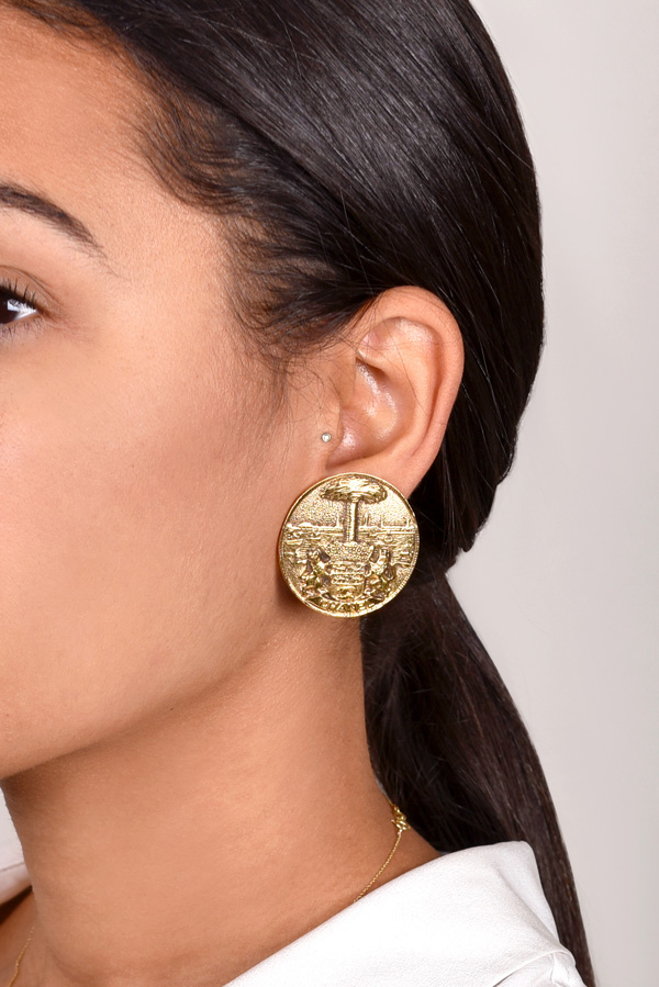 Chanel - Vintage Lion Crest Earrings View 2