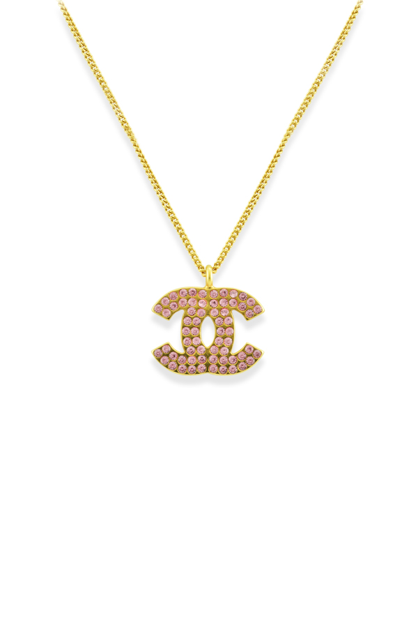Chanel - Vintage Pink Rhinestone Logo Pendant Necklace View 1