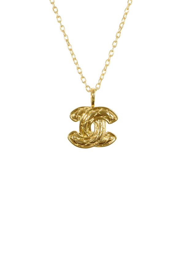 Chanel - Vintage Textured CC Logo Pendant Necklace (Gold)