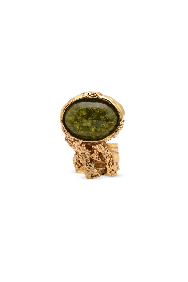 Yves Saint Laurent - Glass Arty Ring (Green) - Size 6.5