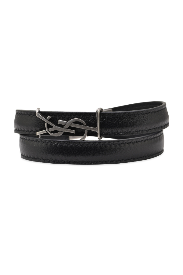 Yves Saint Laurent - YSL Double Wrap Leather Bracelet (Silver) - Small