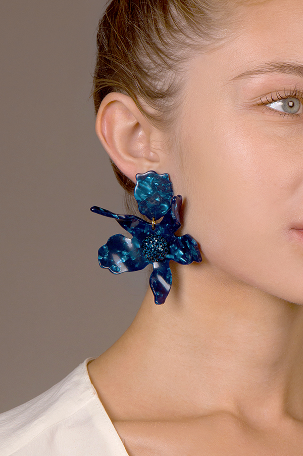 Lele Sadoughi - Crystal Lily Earrings - Navy