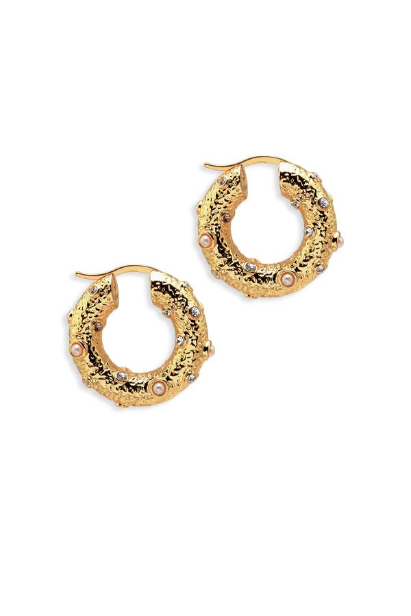 Celine Byzantine Gold Hoop Earrings | Rent Celine jewelry for $29/month