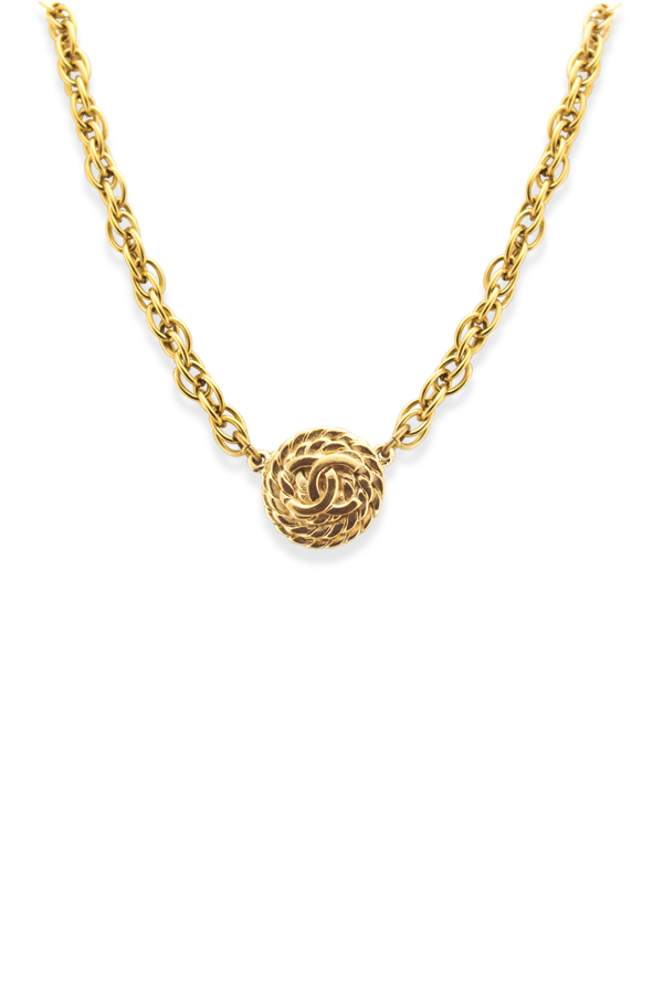 Chanel - Vintage Coin Rope Textured CC Logo Pendant Necklace