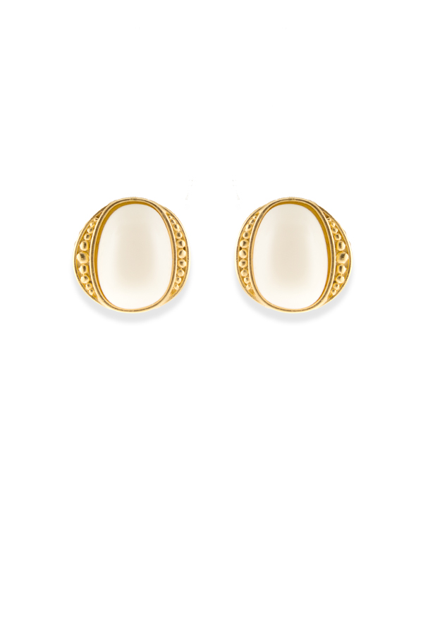 Yves Saint Laurent - Vintage Square Ivory Resin Earrings