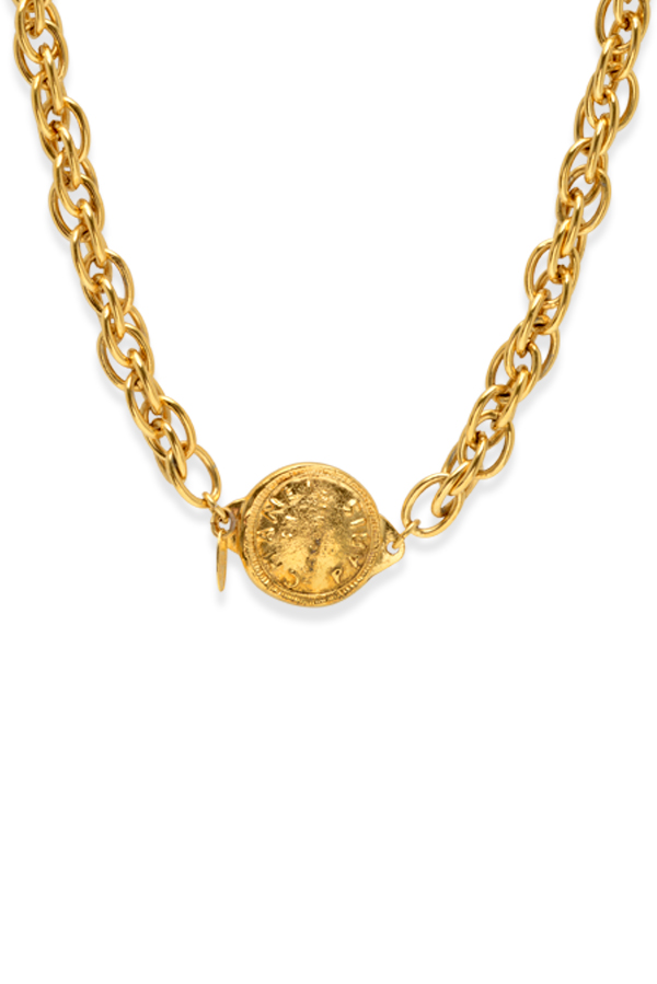Chanel - Vintage Double Link Long Chain With 31 Rue Cambon Coin Pendant Necklace