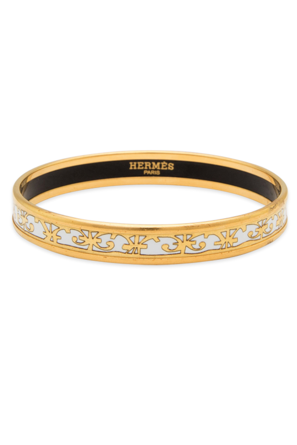 Hermes - Narrow Enamel Bracelet (White/Gold)