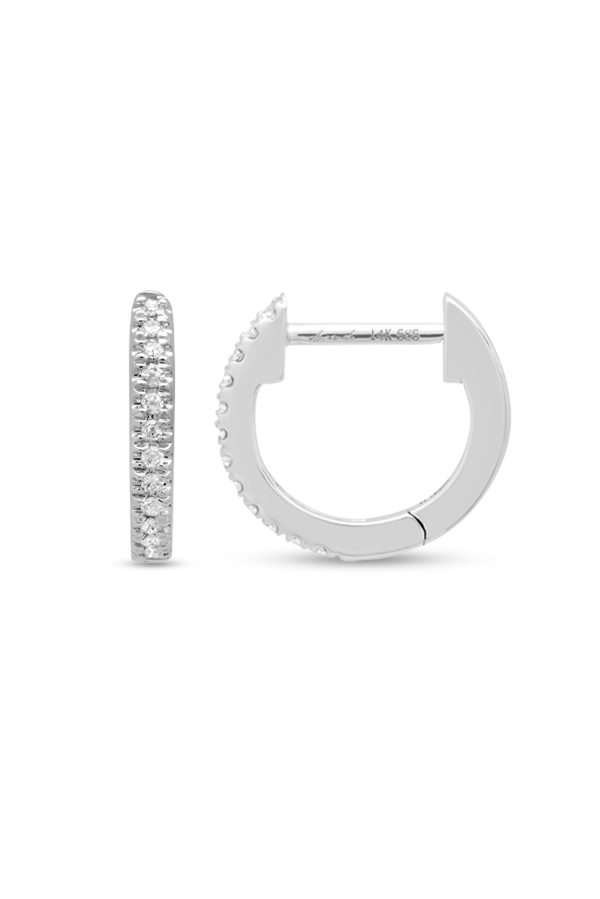 Do Not Disturb - The Zurich Huggie Earrings (14k White Gold And Diamonds)