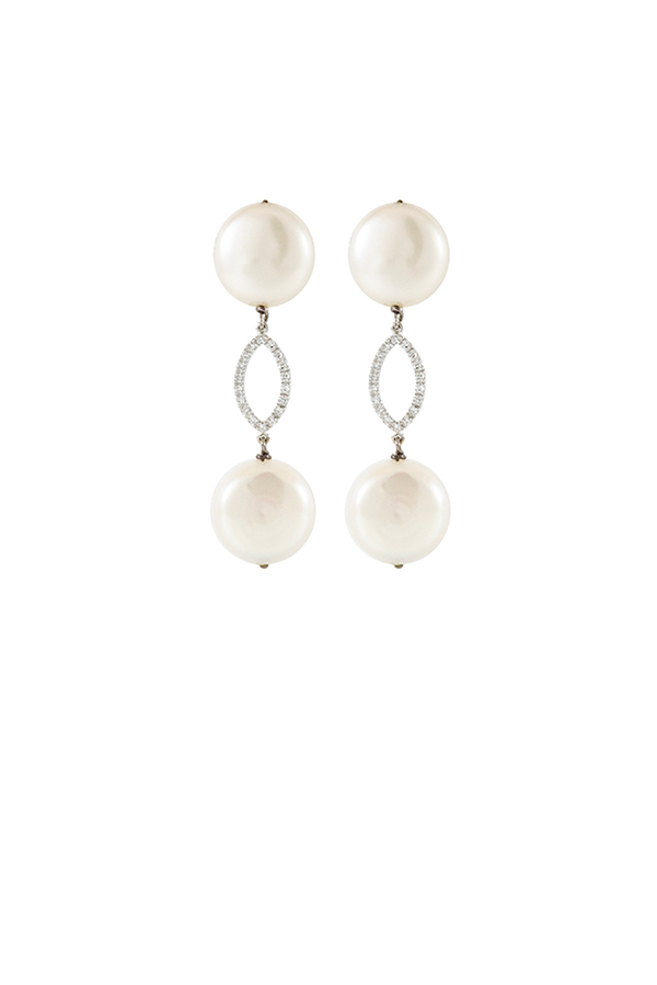 Chains and Pearls - Double Coin Pearl and Diamond Earrings